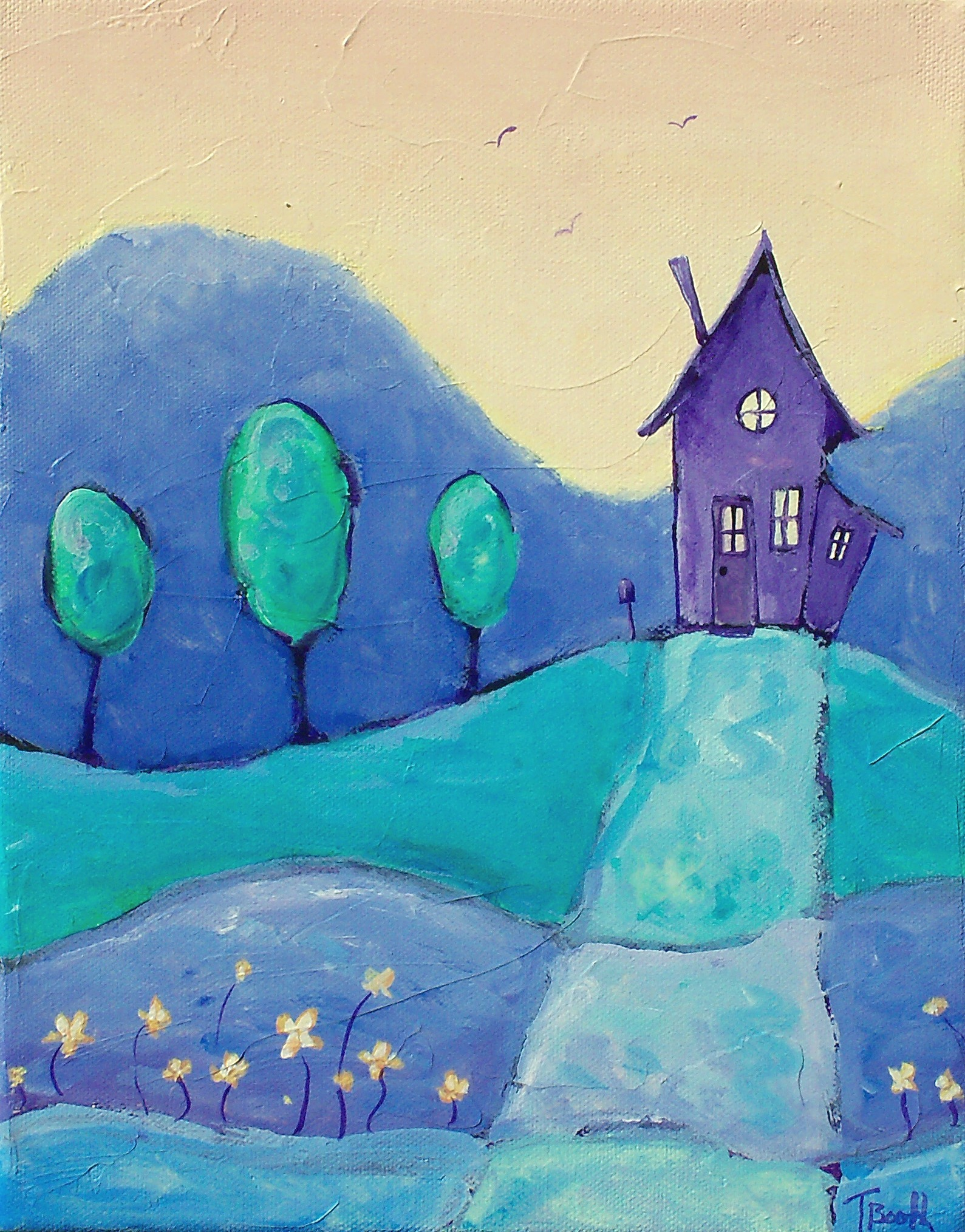 Tiny Purple House on a Hill