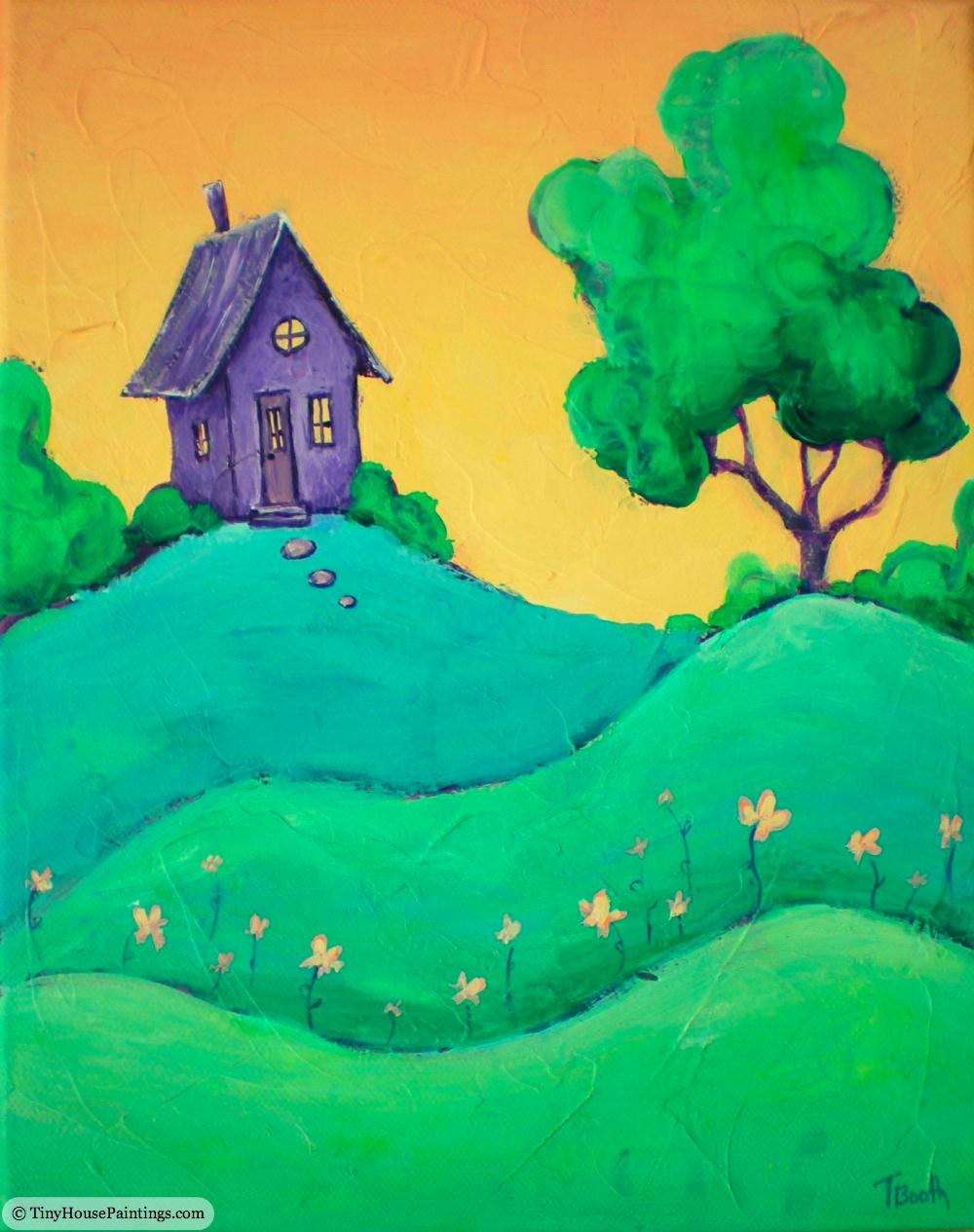Tiny Purple House at Sunrise